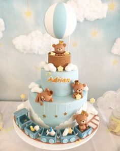 Baby Boy Teddy Bears Cake for Baby Showers & Baptisms