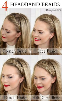 Four Headband Braids | 12 Party Perfect Beauty Tutorials That'll Make You Sparkle http://www.jexshop.com/