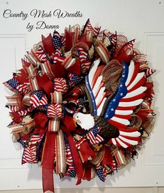 Patriotic Wreath~ Burlap Mesh with Metal Eagle and assorted patriotic ribbon.