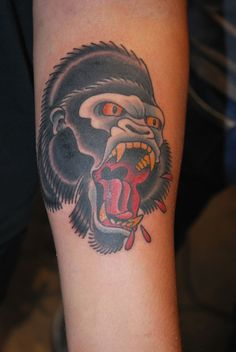 Old School Gorilla Tattoo