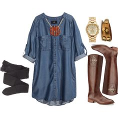 big jean blouse, leggings, boots, and accessories—now complete for comfy cute.