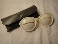 French Runway 1960's Courrege White Slit Lens Glasses Eyewear