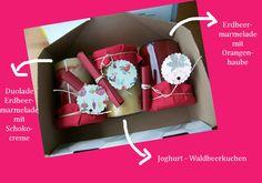 Das very berry DIY Paket für PostausmeinerKüche: Girlande, Erdbeermarmelade mit Schokocreme oder Orangenhaube und Joghurtwaldbeerkuchen. Hmm