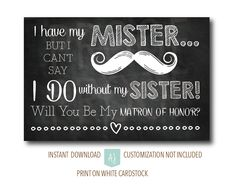 Card for Sister of the Bride Be My Matron of by AestheticJourneys