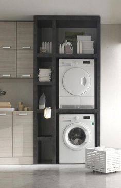 """Gorgeous and Modern Built-In Laundry Storage #""""laundryroomstackablewasheranddryer"""" Laundry Closet, Small Laundry Rooms, Laundry Room Organization, Laundry Room Design, Laundry In Bathroom, Organization Ideas, Basement Laundry, Bathroom Small, Master Bathroom"""