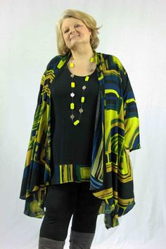 KITA KU Aztec dramatic longer length jacket just landed in our online shop, full size range available - Jacket $85.00, top with coordinating hem print $65.00..