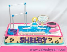 Gymnastic birthday cake  I want this but zebra print not cheetah @Kimberly Peterson Bloedel Reynolds