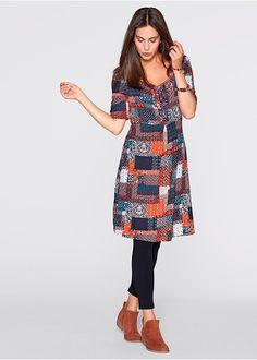 Φόρεμα ζέρσεϊ με μανίκια μεσαίου μήκους Λουλακί/Απαλό κίτρινο εμπριμέ bpc bonprix collection   29.99 €   bonprix