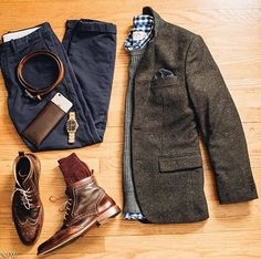 Johnston & Murphy Winter Mix: We love this grid featuring the McGavock Wingtip Boot. Photo: Noah Williams (@nwilliamsphotos)