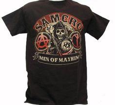 Amazon.com: Sons of Anarchy SOA Men of Mayhem SAMCRO Biker T-shirt (L, Black): Clothing