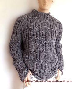 Men sweater Cable knit pullover knitting pattern por PillandPattern