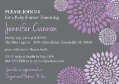 Girl baby shower invitation lace lavender purple lilac mint baby bridal shower invitation printable girl purple and lavender and charcoal grey gray floral modern diy digital file filmwisefo