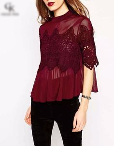 78463d176bc 2016 spring and summer Woman lace shirt Hollow Fashion Casual short-sleeved  cotton blouses Shirt female solid Floral lace Tops