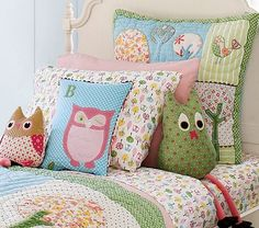 Quilted pillows mixed with flat patterns and decals