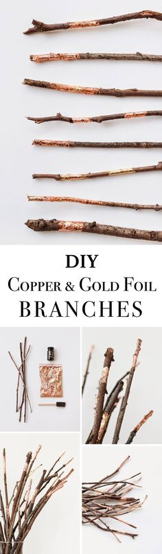 Copper and Gold Foil Branches / Add some branches embellished with gold and copper foil for your table centerpiece.