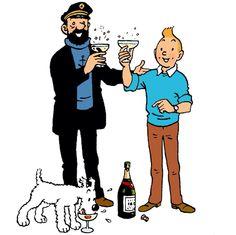Happy New Year with Tintin! Happy New Year with Tintin! Haddock Tintin, Tin Tin Cartoon, Saint Yves, Captain Haddock, Herge Tintin, Lucky Luke, Ligne Claire, Disney, Happy New Year 2019