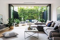 "13k Likes, 68 Comments - Design Milk (@designmilk) on Instagram: ""The flow of the living room into the courtyard of @dotandpop's #home makes that indoor-outdoor…"""