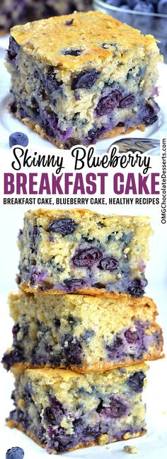 This Skinny Blueberry Breakfast Cake is so moist, soft and bursting with juicy blueberries! It's perfect, healthy homemade breakfast. #skinny #breakfast #recipes #blueberry #cake Healthy Yogurt, Healthy Baking, Healthy Desserts, Dessert Recipes, Dinner Recipes, Snacks Recipes, Snacks Ideas, Dinner Ideas, Breakfast