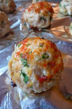 Just a good recipe: Chicken parmesan meatballs. ***delicious!  I'll definitely make this again. Chicken Meatball Recipes, Recipe Chicken, Ground Chicken Recipes Easy, Meatball Subs, Chicken Sub, Toddler Meatball Recipe, Chicken Parm Lasagna Recipe, Chicken Parm Burger, Recipes Using Ground Turkey
