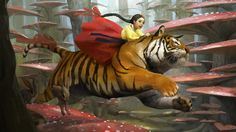 Riding tiger, sangsu jeong on ArtStation at https://www.artstation.com/artwork/Agrzq?utm_campaign=digest&utm_medium=email&utm_source=email_digest_mailer