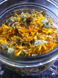 Infused oils: calendula Home-grown dried calendula flowers, awaiting their transformation into infused oil!  www.leafyhead.com