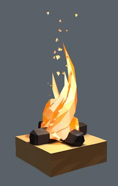 Particle effects; fire // Quick Low Poly Fire test using Tracer object and particule emitter Bg Design, Game Design, Blender 3d, Wireframe, Modelos Low Poly, Zbrush, Low Poly Games, Polygon Art, Low Poly Models