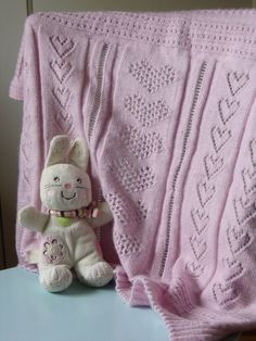 Lace knitted baby throw