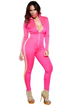 Channel your inner speed demon and race to snag one of these sporty suits for yourself! Smooth, stretchy, sleeved jumpsuit features a mock-neck and contrast trim along the sides and along the arms. Finished with a partial front zipper closure.