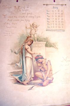 RAPHAEL TUCK & SONS, LTD. CALENDAR, Month of July, Circa 1890's, Year Unknown.