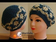 How to crochet beret hat with flowers free pattern tutorial - YouTube