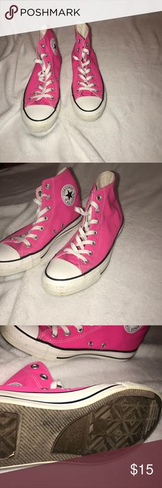 Pink converse high tops Size 6 men's, women's 8 Converse Shoes Sneakers