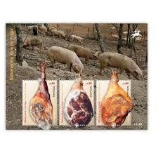 selos ctt - SABORES DO AR E DO FOGO/ 2012 - da esqª para a direita: Presuntos de MELGAÇO - Presunto de VINHAIS - Presunto de BARROSO. Bloco com 3 selos de 0,80 (nº 476). Os selos 4252 a 4254 só foram emitidos em bloco, podendo, no entanto, circular isoladamente.