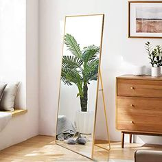 Beauty4U Full Length Mirror Hanging Standing or Leaning, Bedroom Mirror Floor Mirror Wall-Mounted Mirror with Alloy… Full Length Mirror Gold, Full Length Mirror Hanging, Gold Framed Mirror, Wall Mounted Mirror, Wall Mirrors, Living Room Mirrors, Living Room Furniture, Floor Standing Mirror, Mirror Floor