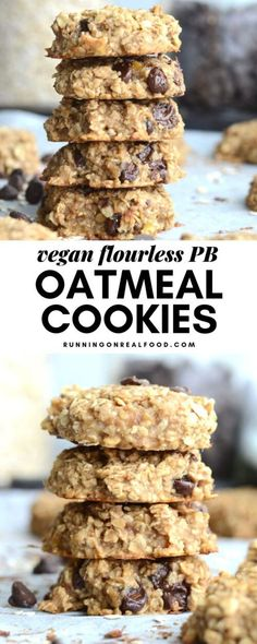 Flourless Peanut Butter Banana Oat Cookies - Just 3 Ingredients! Oil-free, vegan, gluten-free, on added sugar and so easy to make. Customize with your favourite add-ins. Healthy Cookies, Healthy Sweets, Healthy Snacks, Cookies Vegan, Healthy Breakfasts, Eating Healthy, Clean Eating, Sugar Free Oat Cookies, Vegan Sweets