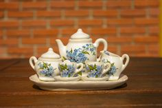 Set of miniatures big - Set of decorated miniatures big included two tea cups, sugar-basin, cup for milk and teapot. All miniatures are placed on decorated plate. Pompadour, Tea Set, Basin, Tea Time, Tea Cups, Forget, Plates, Tableware, Favorite Things
