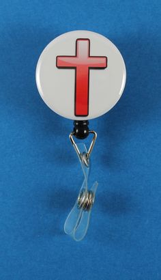 Red Cross Button Retractable Badge Reel, ID Badge Holder
