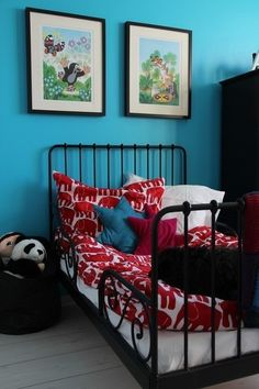 I love the colors! The Mole, Bedroom Inspo, Little Boys, Kids Bedroom, Toddler Bed, Nursery, Couch, Children, Prints