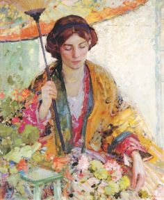 ⊰ Posing with Posies ⊱ paintings of women and flowers - Richard Emil Miller (1875-1943)