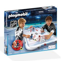 Playmobil brings NHL® action into your home with this awesome playset! Each team has one goalie and one regular player with shooting Hockey Games, Ice Hockey, Playmobil Toys, Nhl Logos, Police Station, National Hockey League, Team Logo, Athlete, Baseball Cards