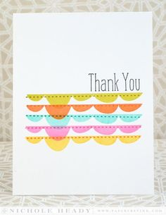 Rainbow Thank You Card by Nichole Heady for Papertrey Ink (June 2014)