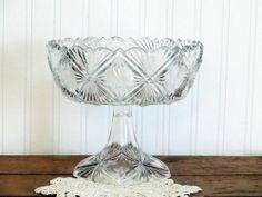 Compote Pedestal Dish Pressed Glass Vintage Large Size | eBay