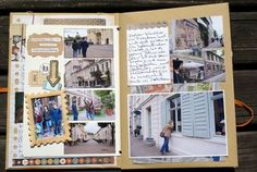 Note the map under the items on the right side.  Love it!!  Follow to a link to make the whole book by hand.  scrap-impulse.typepad.com