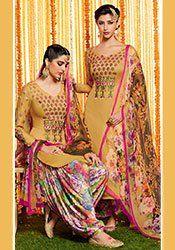 Golden Beige Pure Cotton Satin Patiala Suit