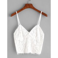 SheIn(sheinside) White Eyelash Lace Overlay Zipper Back Crop Cami Top ($12) ❤ liked on Polyvore featuring tops, white, v neck cami, white crop tank, cami tank, white tank tops and sexy summer tops