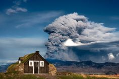 House in Iceland and Eruption. Iceland 2010 by Ingólfur B, via Flickr