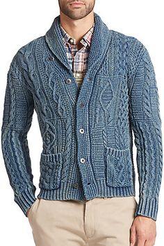 Polo Ralph Lauren Cable-Knit Shawl Cardigan - Indigo - Size X Large Shawl Cardigan, Mens Fashion, Fashion Outfits, Knitted Shawls, Saks Fifth Avenue, Cable Knit, Lana, Indigo, Sportswear
