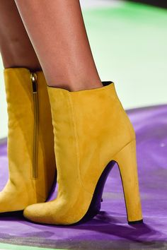 Desigual at New York Fashion Week Fall 2015 - Details Runway Photos Heeled Boots, Bootie Boots, Ankle Boots, Quebec, Runway Shoes, Yellow Boots, Club Shoes, Shoes 2015, Fall Booties