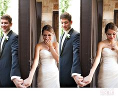 holding hansd around a door before the ceremony...to be together but not see each other yet