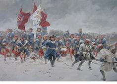Great Northern War, from the uniforms of both sides this is sometime in the latter part of the war. The Swededs had became more standardised in coat colours favouring blue, but the Russians were only just starting to tend towards Green coats and many regiments still wore coats of white, red or even yellow.