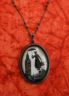 SALE 20% OFF // Coupon code: HOLIDAY20 // Mary Poppins Necklace, pendant on chain - noir edition